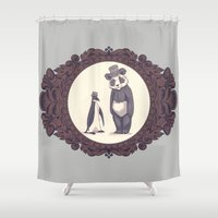 darwin Shower Curtains featuring Charles and Darwin by The Batty Bird