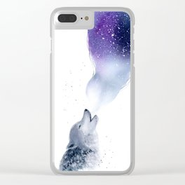 Howling Wolf in The Starlit Night Clear iPhone Case