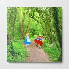 Alice and the Tweedles in the Forest Metal Print