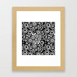 Black / white fishnet Lace pattern Framed Art Print