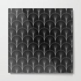 Art Deco Midnight Pattern Black White Grey Metal Print