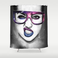 sunglasses Shower Curtains featuring Sunglasses & sky by Juan Rodriguez Cuberes