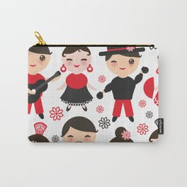 Spanish flamenco dancer. Kawaii cute face with pink cheeks and winking eyes. Gipsy Carry-All Pouch