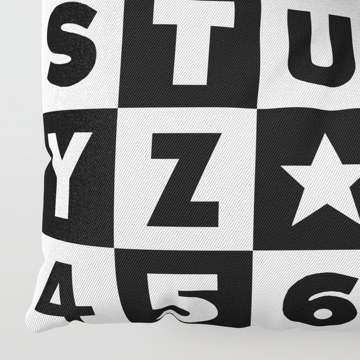 Alphabet Black and White Floor Pillow
