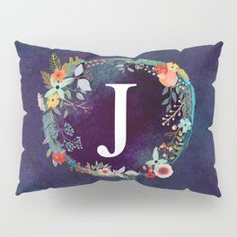 Personalized Monogram Initial Letter J Floral Wreath Artwork Pillow Sham