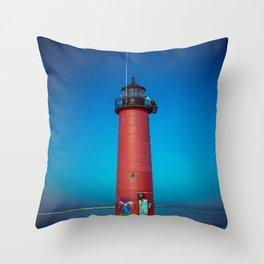 Kenosha North Pier Light Red Lake Michigan Lighthouse Wisconsin Throw Pillow