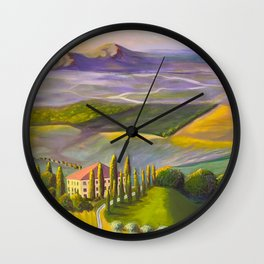 Italian Countryside Landscape Oil Painting Wall Clock
