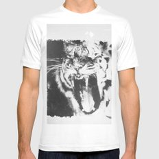 TIGER White Mens Fitted Tee MEDIUM