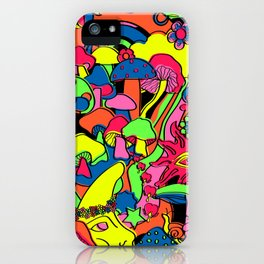 Magical Mushroom World in Neon + Black iPhone Case