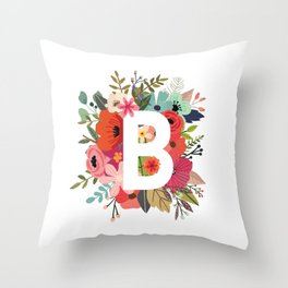 B – Monogrammed Floral Initial Throw Pillow