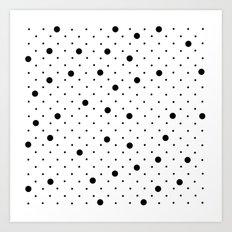 Pin Points Polka Dot Black and White Art Print