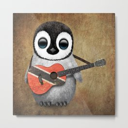 Baby Penguin Playing Trinidadian Flag Guitar Metal Print