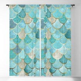 Moroccan Mermaid Fish Scale Pattern, Aqua,Teal Blackout Curtain
