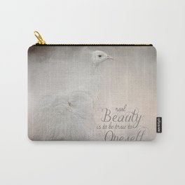 Real Beauty is to be True To Oneself White Peacock Carry-All Pouch