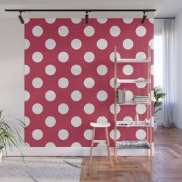 Dingy Dungeon - fuchsia - White Polka Dots - Pois Pattern Wall Mural