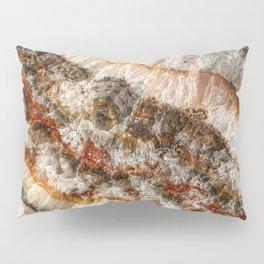 Agate Crystal V // Red Gray Black Yellow Orange Marbled Diamond Luxury Gemstone Pillow Sham
