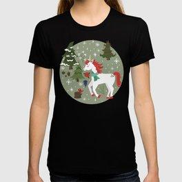 Christmas Winter Unicorn Pattern T-shirt