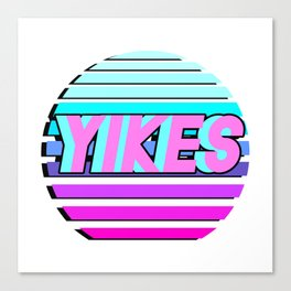 "Vaporwave pattern with palms and words ""yikes"" #2 Canvas Print"