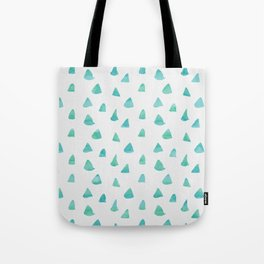 Geometrical teal green watercolor hand painted pattern Tote Bag
