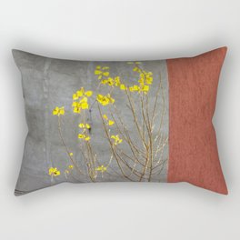 Yellow leaves and red wall Rectangular Pillow