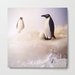 The Expecting Penguins & The Iceberg Metal Print