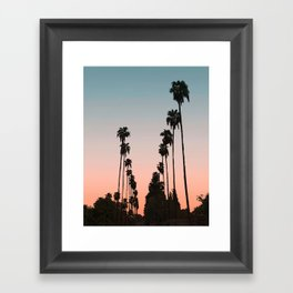 California Sunset // Palm Tree Silhouette Street View Orange and Blue Color Sky Beach Photography Framed Art Print
