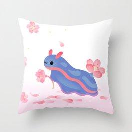 Cherry blossom slug Throw Pillow