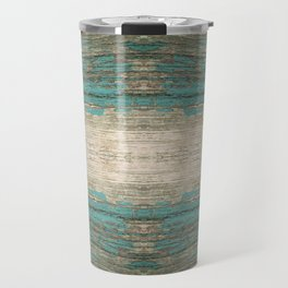 Rustic Wood - Weathered Wooden Plank - Beautiful knotty wood weathered turquoise paint Travel Mug