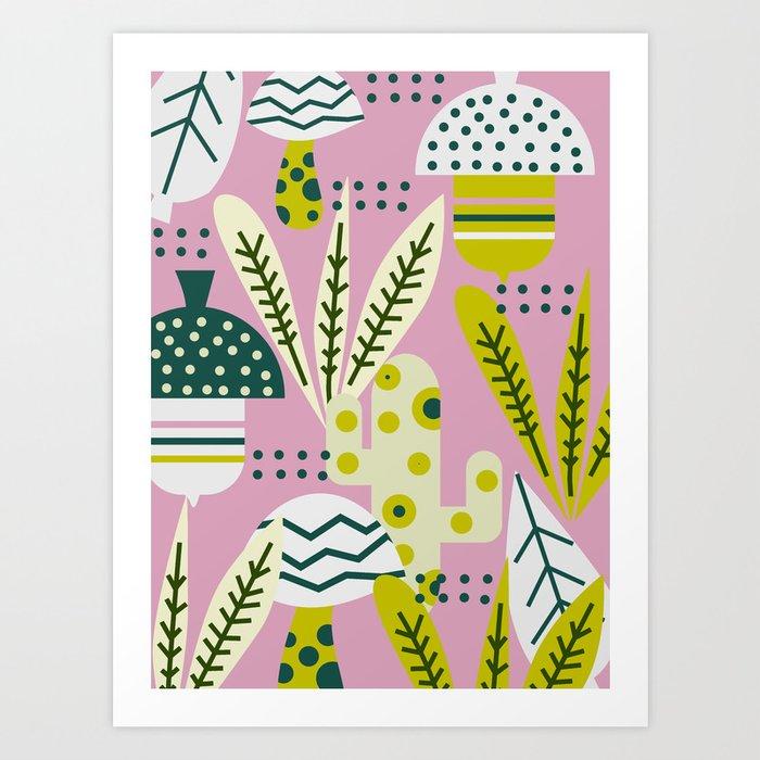 Contemporary acorns and mushrooms Art Print