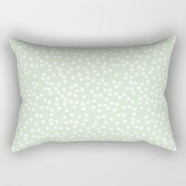 Palest Green and White Polka Dot Pattern Rectangular Pillow