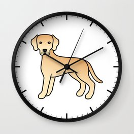 Yellow Labrador Retriever Dog Cute Cartoon Illustration Wall Clock