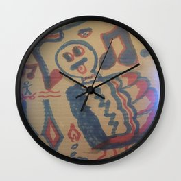 Blue Seventeen on Cardboard 88 Wall Clock