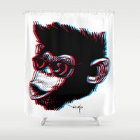 ape Shower Curtains featuring 3D Ape by Nioko