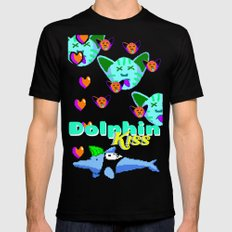 Dolphin Kiss Black Mens Fitted Tee MEDIUM