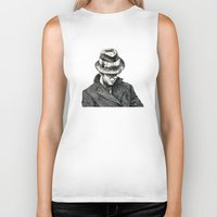 tom waits Biker Tanks featuring tom waits by Eric Tiedt