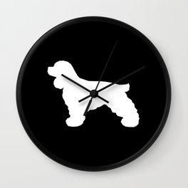 Cocker Spaniel black and white minimal modern pet art dog silhouette dog breeds square Wall Clock