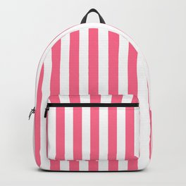 Pink and White Vertical Stripes Backpack
