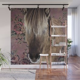 Icelandic pony with rosy posies Wall Mural
