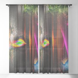 Our world is a magic - Sunset Sheer Curtain
