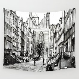 GOTHIC STREET OF POLISH CITY GDANSK IN GREY TONES Wall Tapestry