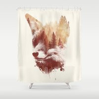 fox Shower Curtains featuring Blind fox by Robert Farkas