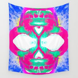 smiling pink skull head with blue and yellow background Wall Tapestry