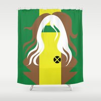 x men Shower Curtains featuring Rogue - Minimalist - X-Men by Adrian Mentus