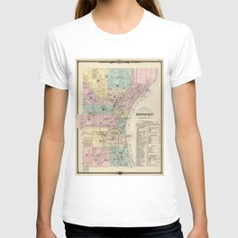 Vintage Map of Milwaukee Wisconsin (1878) T-shirt