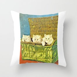 35 Retro Cat Artwork Throw Pillow