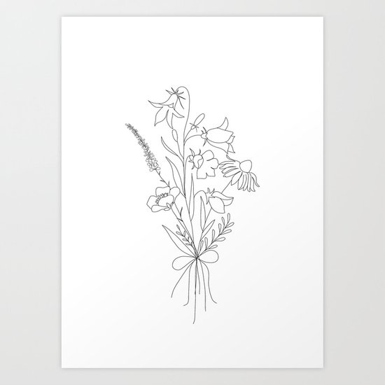 Small Wildflowers Minimalist Line Art by nadja1