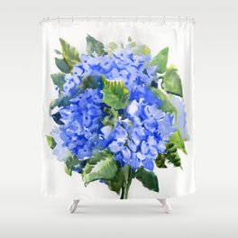 Hydrangea Flowers, floral sky blue soft green Sage colored art Shower Curtain