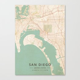 San Diego, United States - Vintage Map Canvas Print