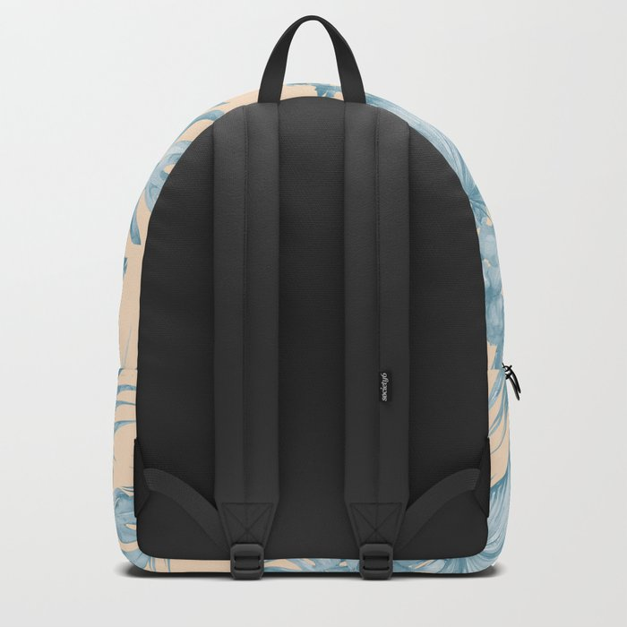 Tropical Flowers and Leaves Blue on Peach Coral Backpack