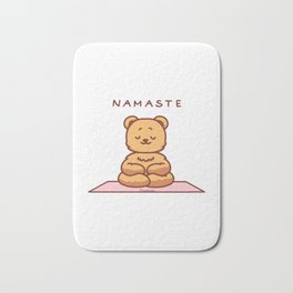 Teddy Meditation Yoga Grizzly stuffed animal Bath Mat